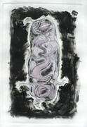 "Fabricant 1, drypoint, monoprint, watercolour, one of one, 12""x18"", 150.00"