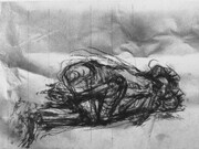 Copulating Figures, drypoint, drawing, spraypaint, chine colle, 9x12in. one of several on Stonehenge paper