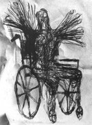 Figure in a Wheelchair, drypoint, drawing, spraypaint, chine colle, 9x12in. one of one on Stonehenge paper.