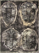 News, drypoint, monoprint, silkscreen, tea, 9x12in. variable edition of five on Stonehenge paper.