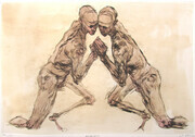 Two Figures, drypoint, tea, conte wash, watercolour, variable edition of 5, 12x18, 150.00