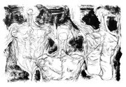 Former Human objects, drypoint, monoprint, 8x12in. variable edition of five on