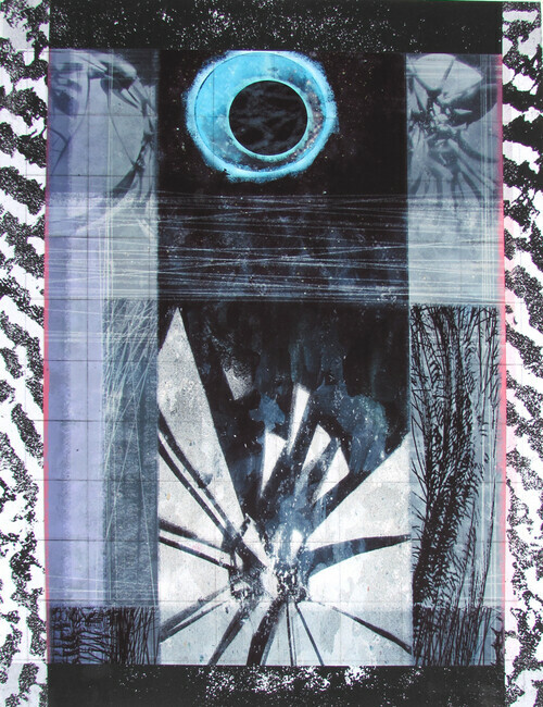 Eye In The Sky, drypoint, digital, silkscreen, chine colle, 12x18in. one of one on Stonehenge paper.