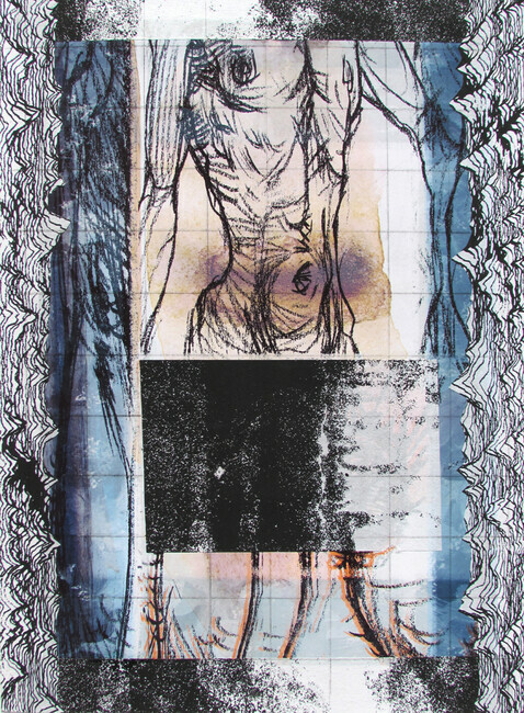 Body Electric, drypoint, digital, silkscreen, chine colle, 12x18in. one of one on Stonehenge paper.