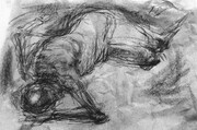 Recumbent Figure, drypoint, spraypaint, charcoal, chine colle, 8x12in., variable edition of five on Stonehenge.