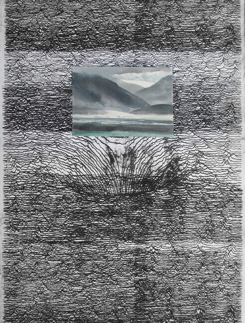 Landscape and Memory, drypoint, silkscreen, watercolour, chine colle, 18x24in. one of one on Stonehenge paper.