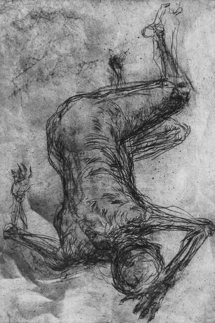 Fallen Figure, Drypoint, charcoal, spraypaint, chine colle, 8x12in. variable edition of five on Stonehenge paper.