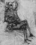 Sitting Figure, drypoint, spraypaint, chine colle, 11x14in. one of five variable edition on Stonehenge paper.