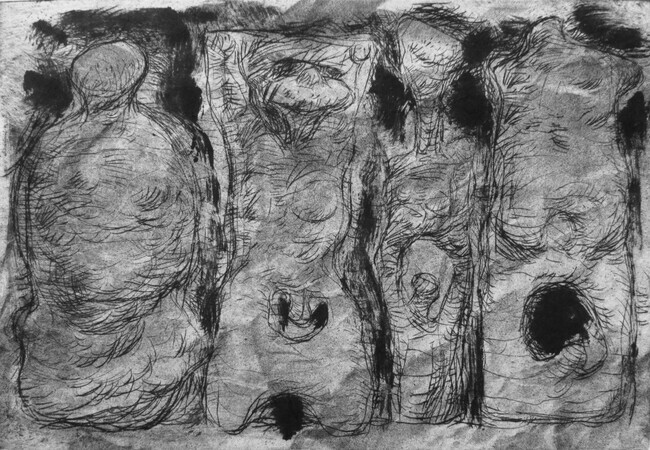Four Figures, drypoint, spraypaint, monoprint, chine colle, 8x12in. variable edition of five on Stonehenge paper.