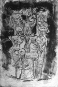 Descent From The Cross, drypoint, monoprint, 8x12in. variable edition of five on Stonehenge paper.