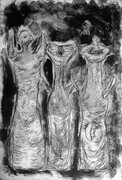 Three Supplicating Figures, drypoint and monoprint, 8x12in. variable edition of five on Stonehenge paper.