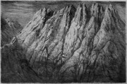 Island Massif (Foster), 12x18in., drypoint on Stonehenge paper, artist's proof without watercolour tinting.