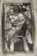 Satyr On a Cubist Lattice, 8x12in., drypoint and watercolour on Stonehenge paper, variable edition of ten.