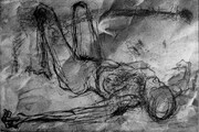Reclining Figure, 8x12in., drypoint and chine colle on Stonehenge paper, variable edition of 5.