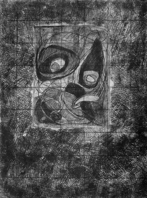 Noise and Vigor, drypoint, chine colle, 9x12in. one of one on Stonehenge paper.